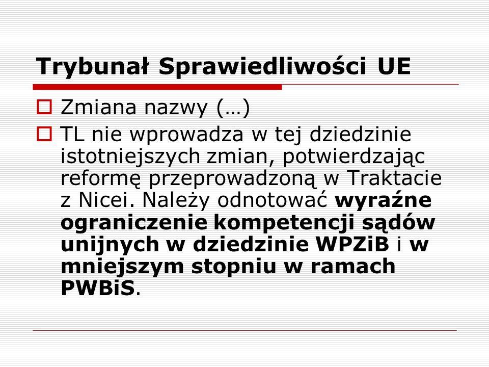 Trybunał Sprawiedliwości UE Zmiana nazwy (…) TL nie wprowadza w tej dziedzinie istotniejszych zmian, potwierdzając reformę przeprowadzoną w Traktacie