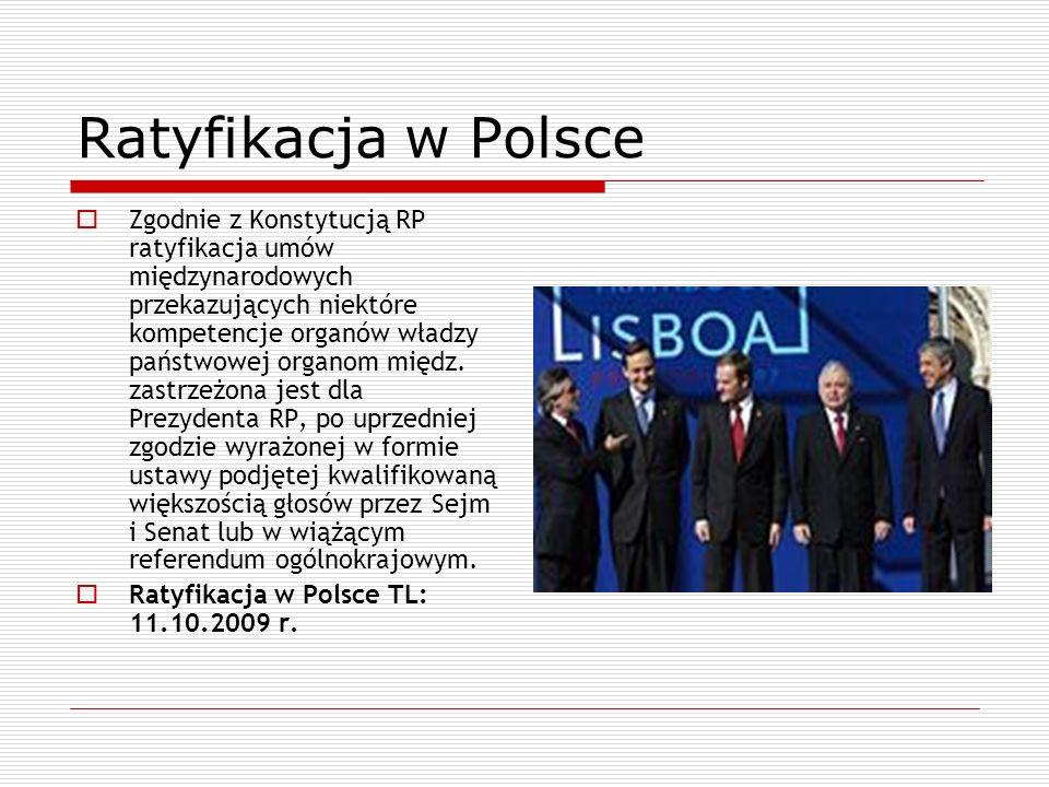 Ratyfikacja w Polsce Zgodnie z Konstytucją RP ratyfikacja umów międzynarodowych przekazujących niektóre kompetencje organów władzy państwowej organom