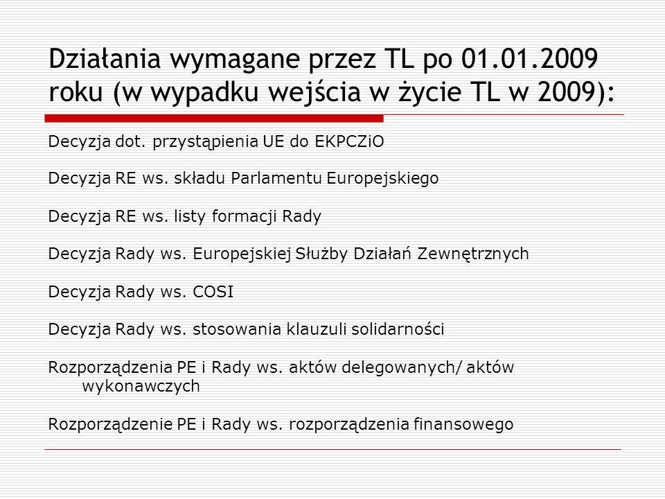 Działania wymagane przez TL po 01.01.2009 roku (w wypadku wejścia w życie TL w 2009): Decyzja dot. przystąpienia UE do EKPCZiO Decyzja RE ws. składu P