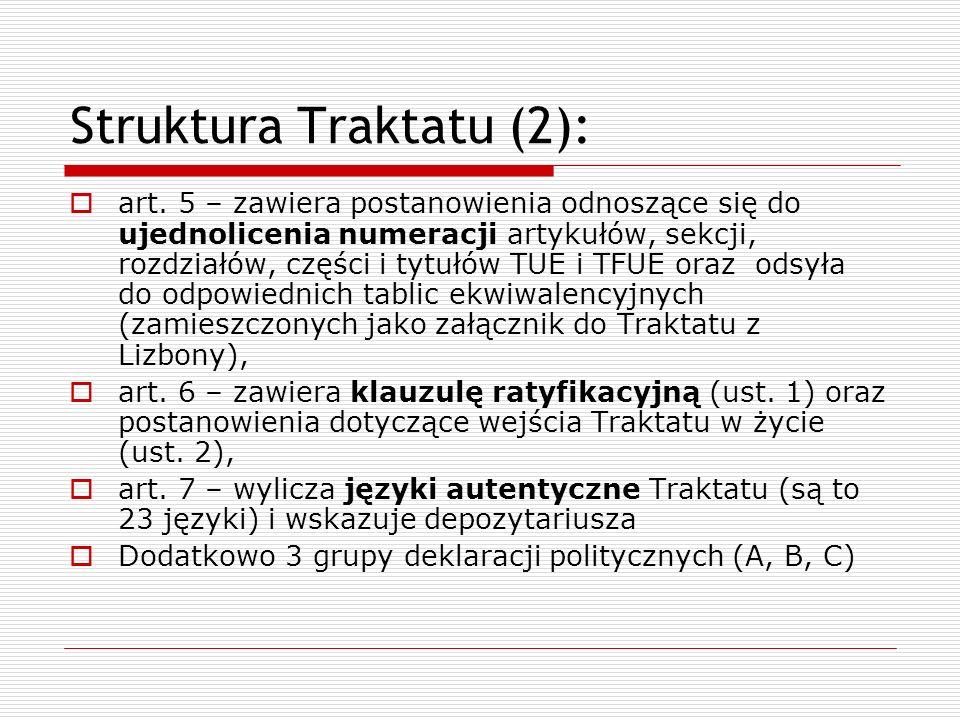 Struktura Traktatu (2): art. 5 – zawiera postanowienia odnoszące się do ujednolicenia numeracji artykułów, sekcji, rozdziałów, części i tytułów TUE i
