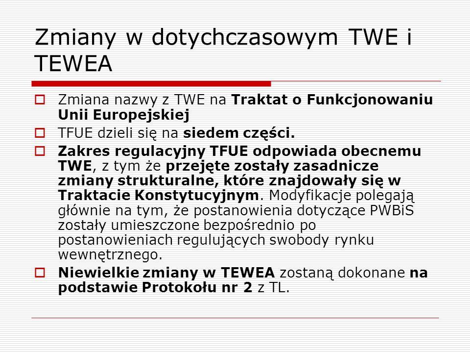 Zmiany w dotychczasowym TWE i TEWEA Zmiana nazwy z TWE na Traktat o Funkcjonowaniu Unii Europejskiej TFUE dzieli się na siedem części. Zakres regulacy
