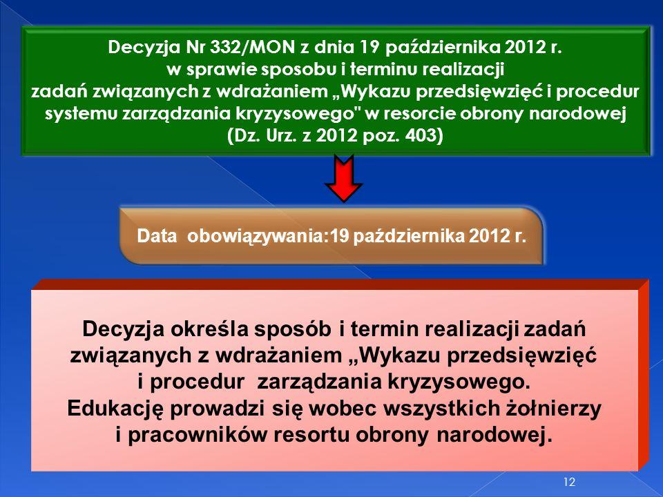 12 Decyzja Nr 332/MON z dnia 19 października 2012 r. w sprawie sposobu i terminu realizacji zadań związanych z wdrażaniem Wykazu przedsięwzięć i proce