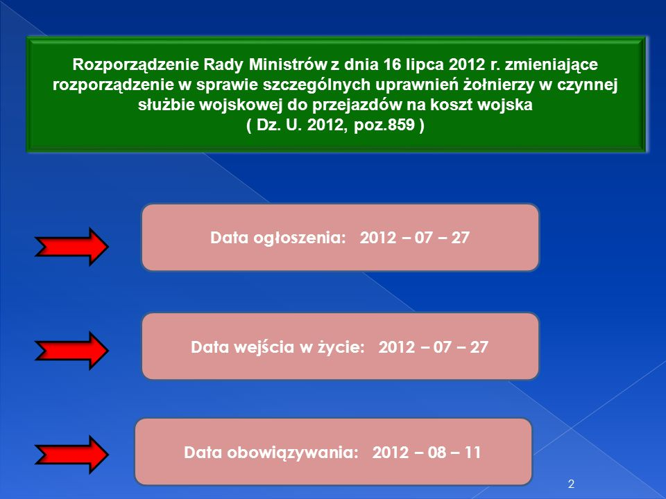 Rozporządzenie Rady Ministrów z dnia 16 lipca 2012 r. zmieniające rozporządzenie w sprawie szczególnych uprawnień żołnierzy w czynnej służbie wojskowe