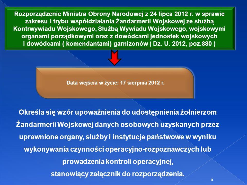 6 Rozporządzenie Ministra Obrony Narodowej z 24 lipca 2012 r. w sprawie zakresu i trybu współdziałania Żandarmerii Wojskowej ze służbą Kontrwywiadu Wo