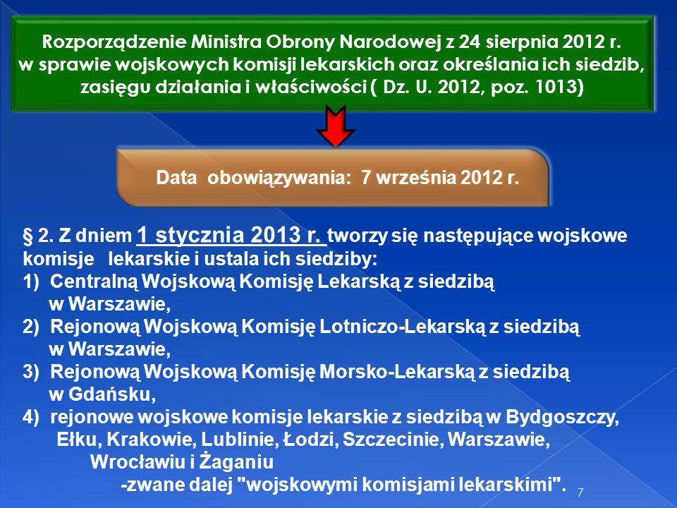 7 Rozporządzenie Ministra Obrony Narodowej z 24 sierpnia 2012 r. w sprawie wojskowych komisji lekarskich oraz określania ich siedzib, zasięgu działani