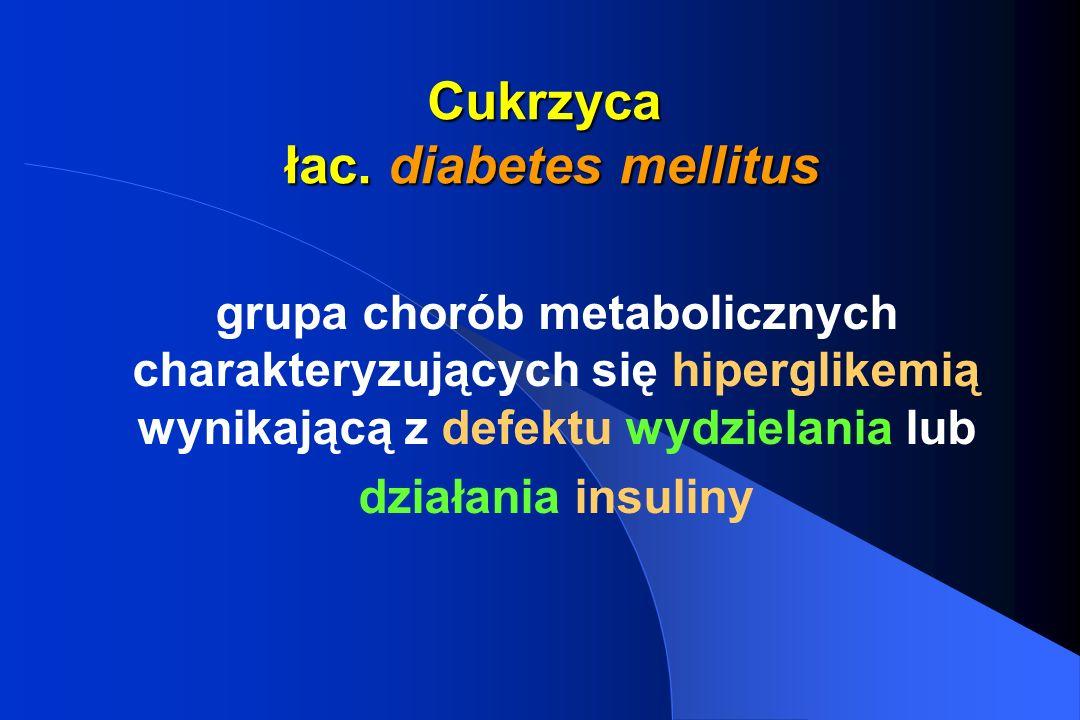 Cukrzyca – choroba społeczna trwałe uszkodzenie zdrowia ograniczające lub uniemożliwiające swobodne życie (wybór wykształcenia, pracy, planowania rodziny) wymaga stałej opieki medycznej wskaźnik chorobowości >1% wskaźnik chorobowości - częstość występowania cukrzycy w populacji ogólnej w procentach, promilach lub w przeliczeniu na 100 tys.