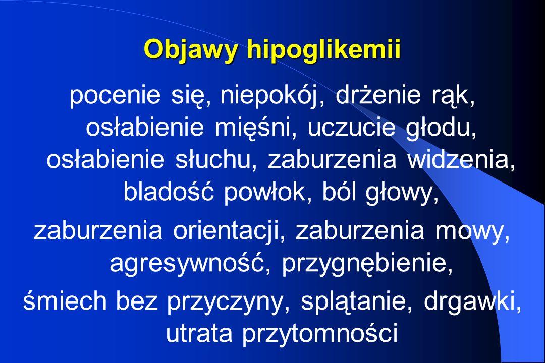 Objawy hipoglikemii pocenie się, niepokój, drżenie rąk, osłabienie mięśni, uczucie głodu, osłabienie słuchu, zaburzenia widzenia, bladość powłok, ból