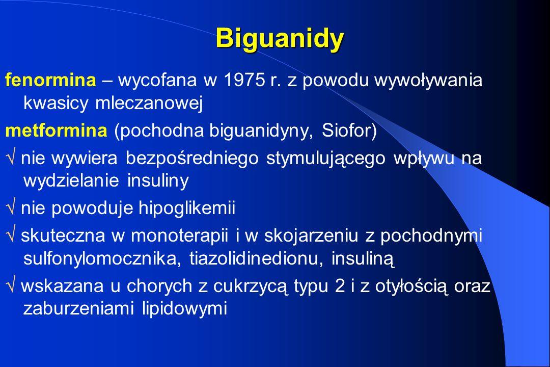 Biguanidy fenormina – wycofana w 1975 r. z powodu wywoływania kwasicy mleczanowej metformina (pochodna biguanidyny, Siofor) nie wywiera bezpośredniego