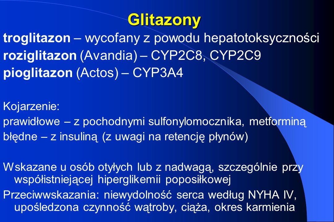 Glitazony troglitazon – wycofany z powodu hepatotoksyczności roziglitazon (Avandia) – CYP2C8, CYP2C9 pioglitazon (Actos) – CYP3A4 Kojarzenie: prawidło