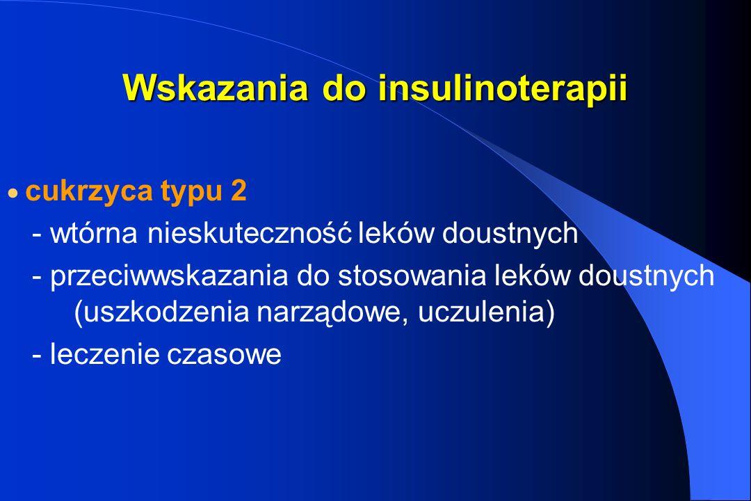Wskazania do insulinoterapii cukrzyca typu 2 - wtórna nieskuteczność leków doustnych - przeciwwskazania do stosowania leków doustnych (uszkodzenia nar