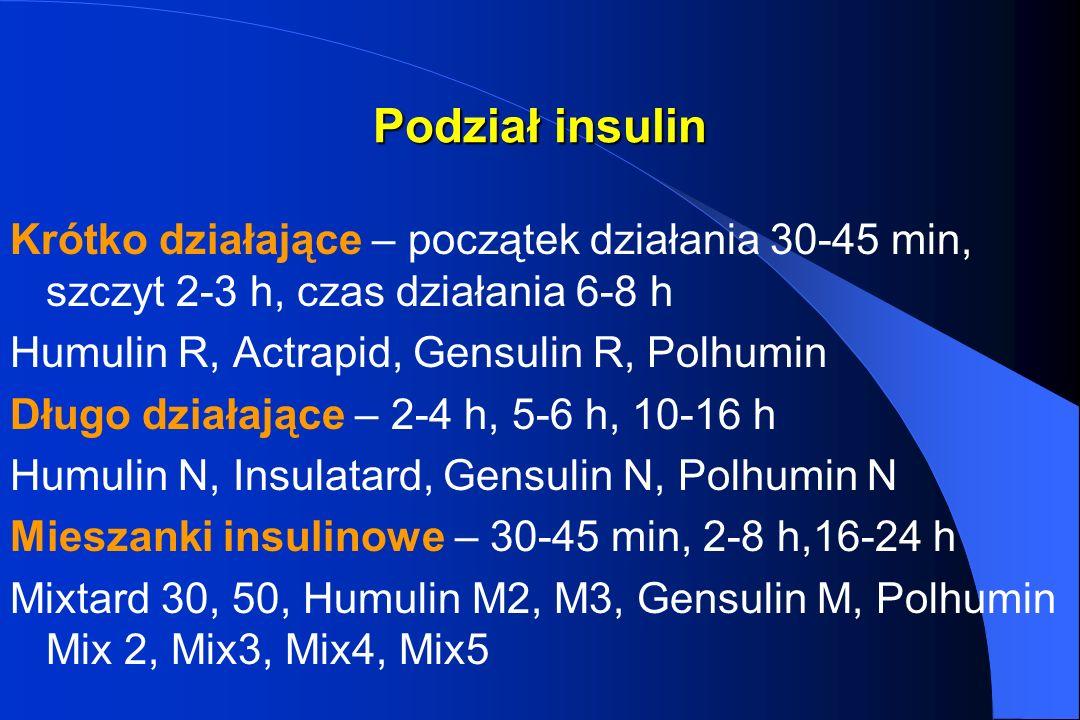 Podział insulin Krótko działające – początek działania 30-45 min, szczyt 2-3 h, czas działania 6-8 h Humulin R, Actrapid, Gensulin R, Polhumin Długo d