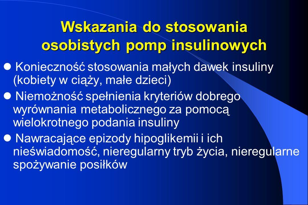 Wskazania do stosowania osobistych pomp insulinowych Konieczność stosowania małych dawek insuliny (kobiety w ciąży, małe dzieci) Niemożność spełnienia
