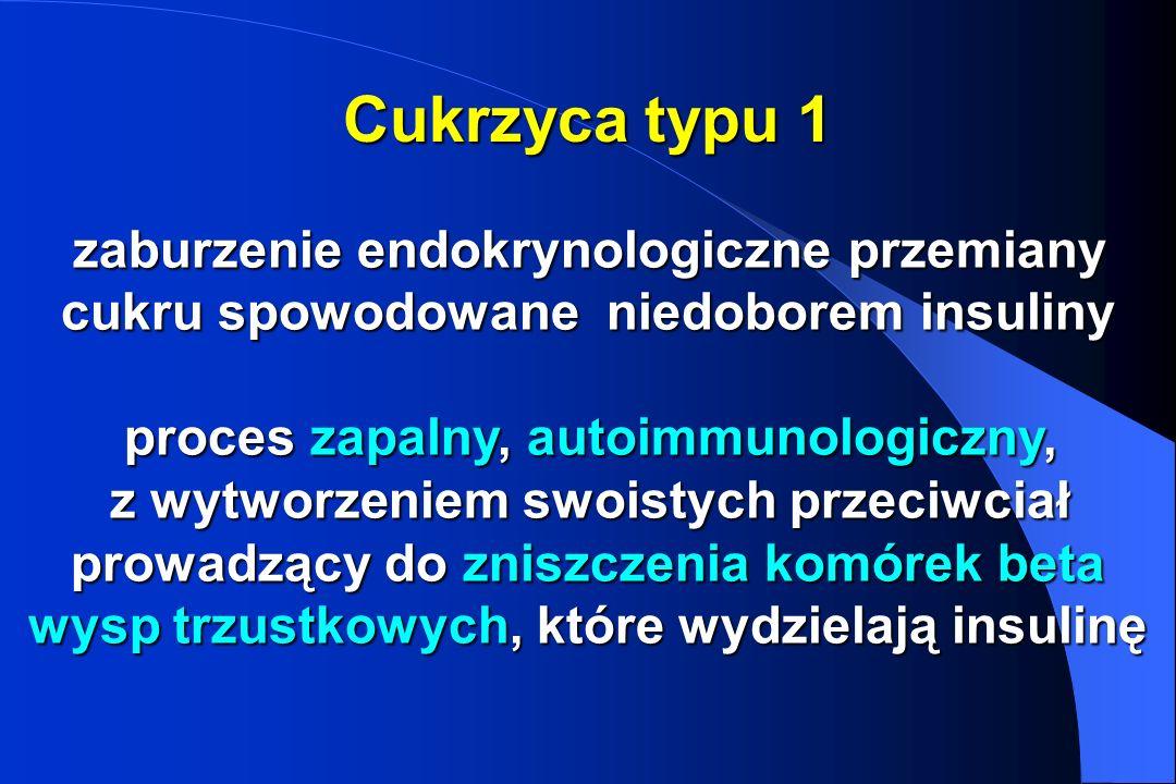 Cukrzyca typu 1 zaburzenie endokrynologiczne przemiany cukru spowodowane niedoborem insuliny proces zapalny, autoimmunologiczny, z wytworzeniem swoist