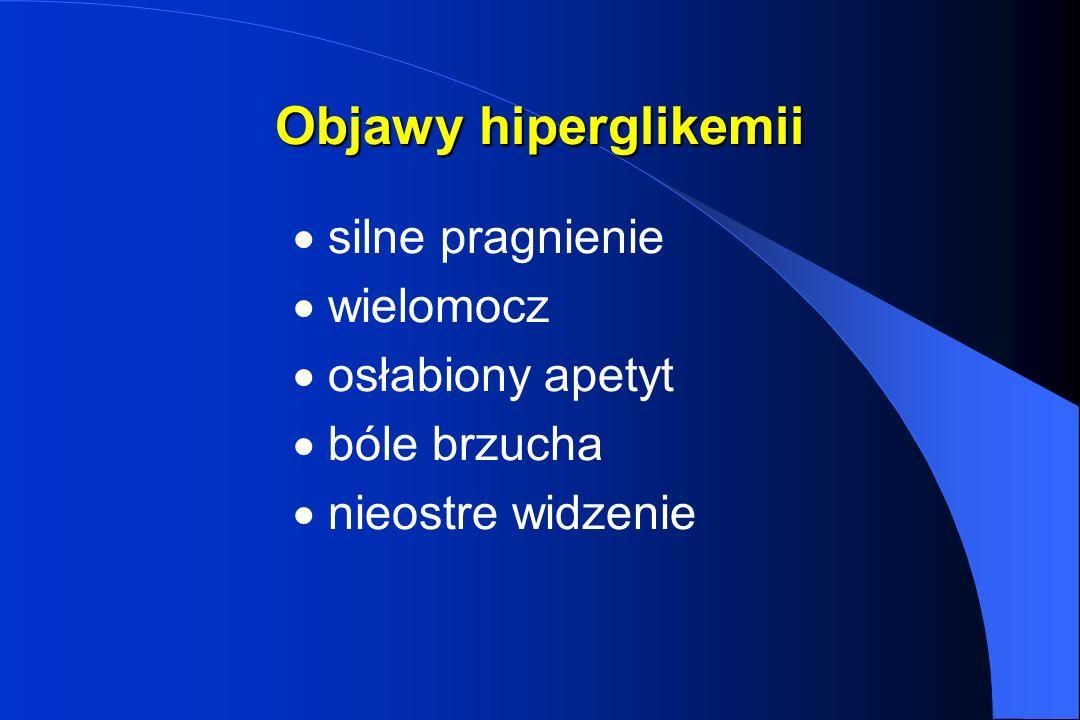 Objawy hiperglikemii silne pragnienie wielomocz osłabiony apetyt bóle brzucha nieostre widzenie