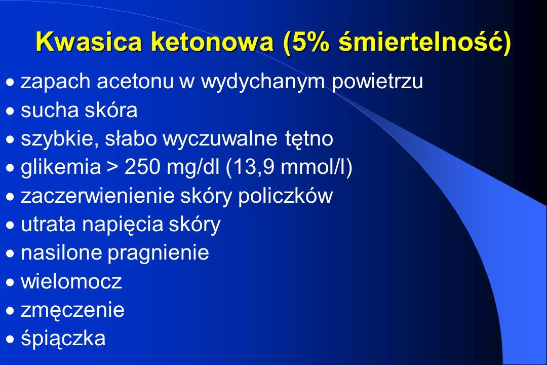 Kwasica ketonowa (5% śmiertelność) zapach acetonu w wydychanym powietrzu sucha skóra szybkie, słabo wyczuwalne tętno glikemia > 250 mg/dl (13,9 mmol/l