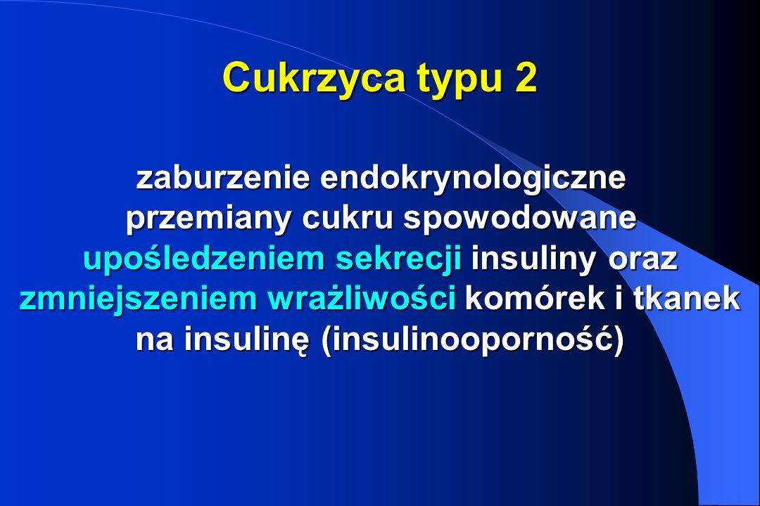 Cukrzyca typu 2 zaburzenie endokrynologiczne przemiany cukru spowodowane upośledzeniem sekrecji insuliny oraz zmniejszeniem wrażliwości komórek i tkan