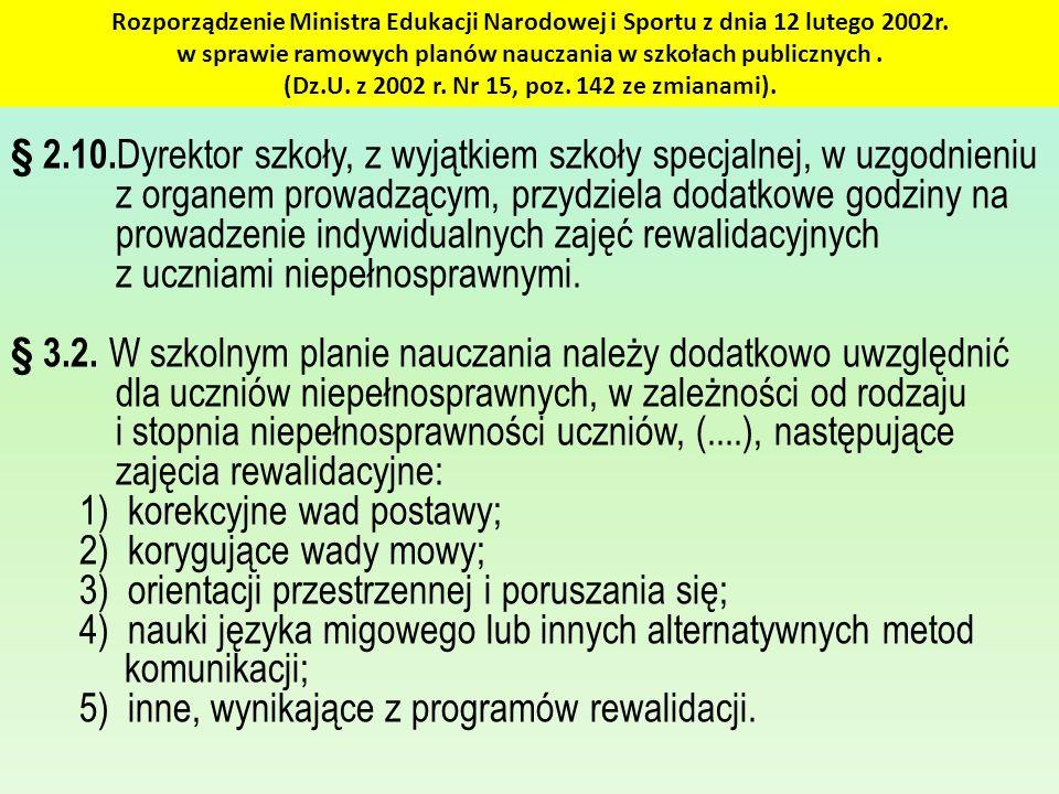 Rozporządzenie Ministra Edukacji Narodowej i Sportu z dnia 12 lutego 2002r. w sprawie ramowych planów nauczania w szkołach publicznych. (Dz.U. z 2002
