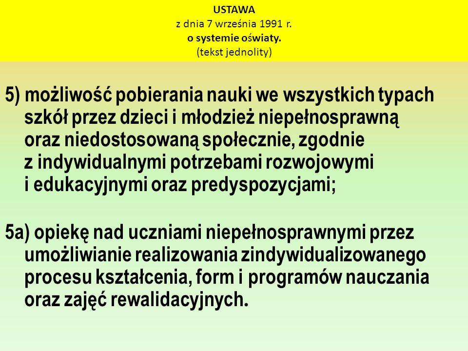 USTAWA z dnia 7 września 1991 r. o systemie oświaty. (tekst jednolity) 5) możliwość pobierania nauki we wszystkich typach szkół przez dzieci i młodzie
