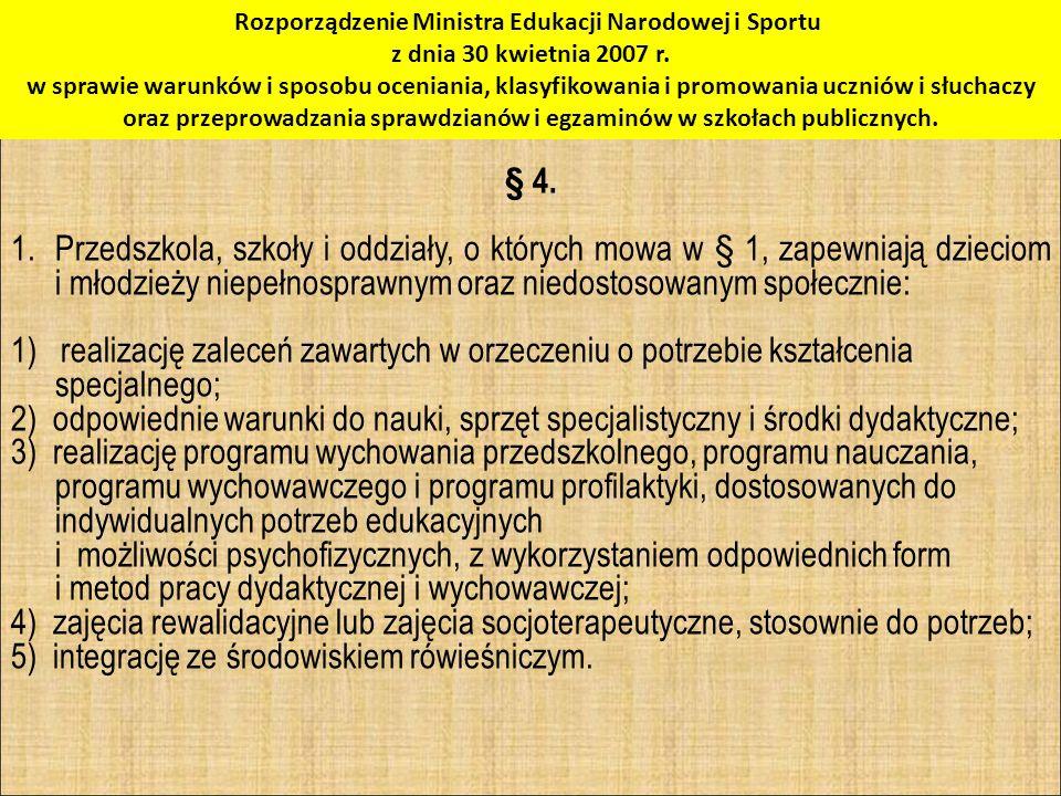 Rozporządzenie Ministra Edukacji Narodowej i Sportu z dnia 30 kwietnia 2007 r.