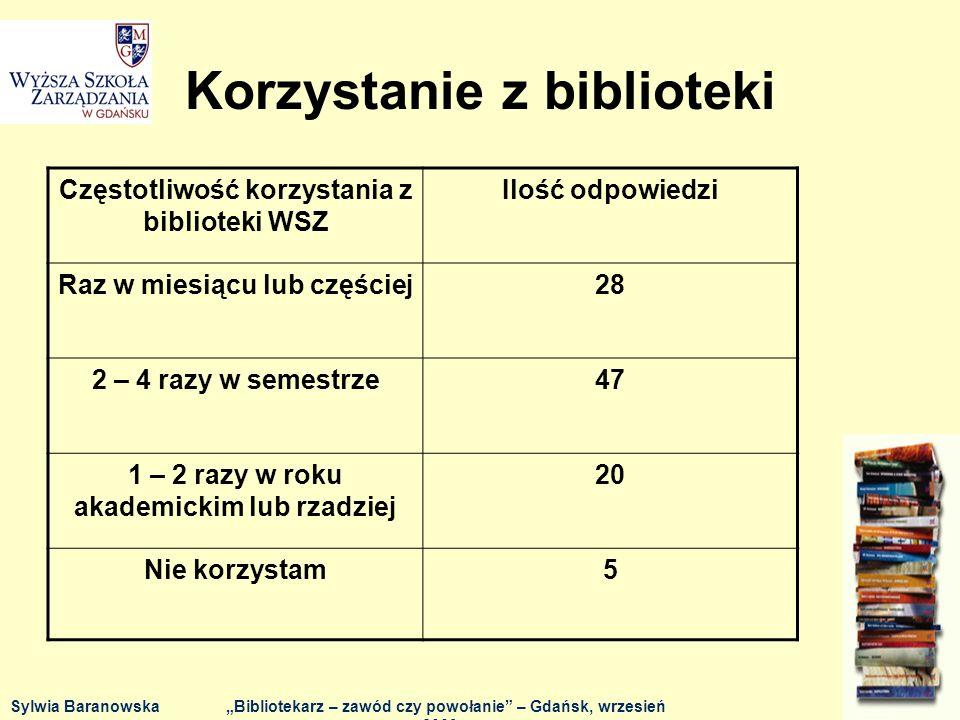 OCZEKIWANIA - pomoc w doborze literatury do prac semestralnych i/lub dyplomowych - 7 osób, - wyrozumiałość (zarówno jeśli chodzi o brak wprawy w korzystaniu z katalogów, jak i o - sprawy regulaminowe) – 3 osoby, - miłe usposobienie – 3 osoby, - pomoc w przeszukiwaniu katalogów innych bibliotek, wskazywanie, w której bibliotece Trójmiasta można znaleźć poszukiwaną literaturę – 2 osoby.