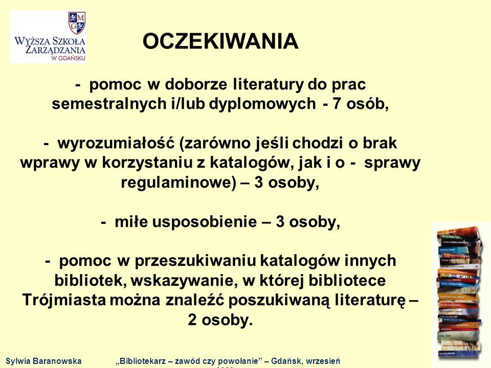 Dziękuję za uwagę Sylwia BaranowskaBibliotekarz – zawód czy powołanie – Gdańsk, wrzesień 2009 r.
