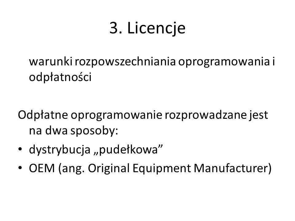 3. Licencje warunki rozpowszechniania oprogramowania i odpłatności Odpłatne oprogramowanie rozprowadzane jest na dwa sposoby: dystrybucja pudełkowa OE