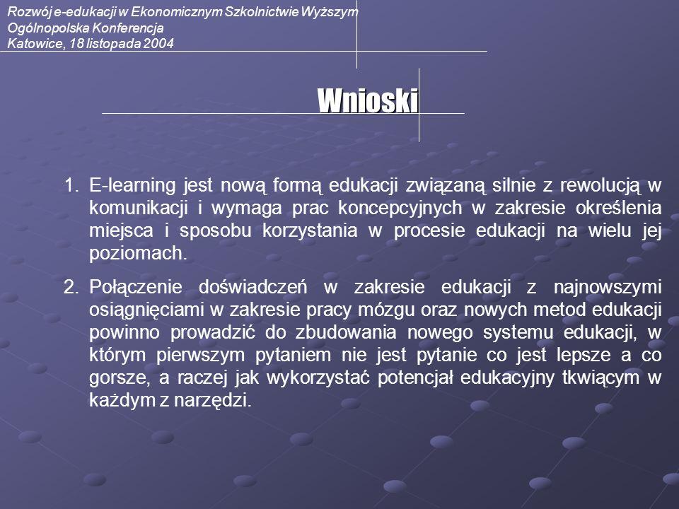 Rozwój e-edukacji w Ekonomicznym Szkolnictwie Wyższym Ogólnopolska Konferencja Katowice, 18 listopada 2004Wnioski 1.E-learning jest nową formą edukacj