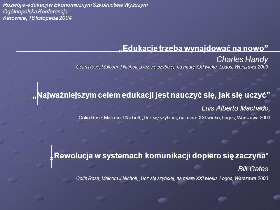 Rozwój e-edukacji w Ekonomicznym Szkolnictwie Wyższym Ogólnopolska Konferencja Katowice, 18 listopada 2004 Edukacje trzeba wynajdować na nowo Colin Ro