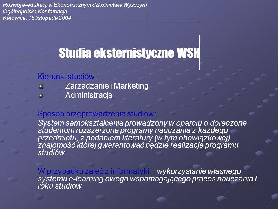 Rozwój e-edukacji w Ekonomicznym Szkolnictwie Wyższym Ogólnopolska Konferencja Katowice, 18 listopada 2004 Studia eksternistyczne WSH Kierunki studiów