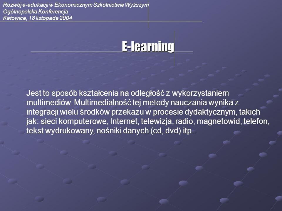 Rozwój e-edukacji w Ekonomicznym Szkolnictwie Wyższym Ogólnopolska Konferencja Katowice, 18 listopada 2004 Technologia Nauczania Technologię nauczania na odległość określa się obecnie w trzech aspektach: treści szkolenia – zawierającej odpowiednio przygotowane moduły edukacyjne, modeli umożliwiających i zapewniających kontakt wykładowcy ze studentem sposobu komunikacji wykładowcy ze studentem