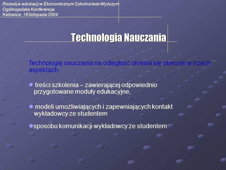 Rozwój e-edukacji w Ekonomicznym Szkolnictwie Wyższym Ogólnopolska Konferencja Katowice, 18 listopada 2004 Media – przekazywanie wiedzy Kontakt bezpośredni (face-to-face), Tekst, tekst połączony z grafiką, animacje, materiały drukowane, Przekaz dźwiękowy, Przekaz wideo, Zintegrowane multimedia,.