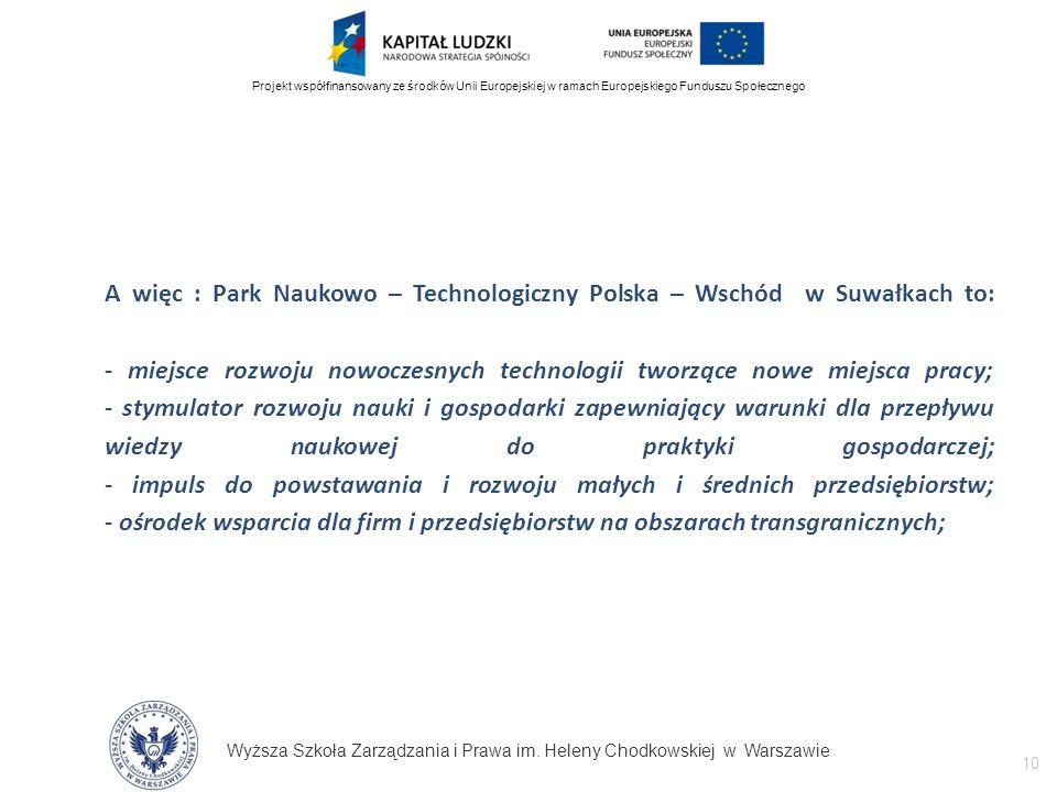 Wyższa Szkoła Zarządzania i Prawa im. Heleny Chodkowskiej w Warszawie 10 Projekt współfinansowany ze środków Unii Europejskiej w ramach Europejskiego