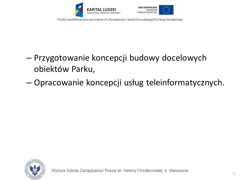 Wyższa Szkoła Zarządzania i Prawa im. Heleny Chodkowskiej w Warszawie 12 Projekt współfinansowany ze środków Unii Europejskiej w ramach Europejskiego