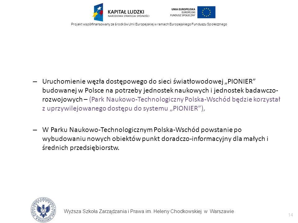 Wyższa Szkoła Zarządzania i Prawa im. Heleny Chodkowskiej w Warszawie 14 Projekt współfinansowany ze środków Unii Europejskiej w ramach Europejskiego