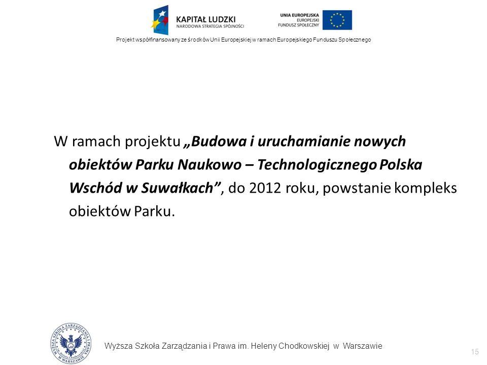 Wyższa Szkoła Zarządzania i Prawa im. Heleny Chodkowskiej w Warszawie 15 Projekt współfinansowany ze środków Unii Europejskiej w ramach Europejskiego