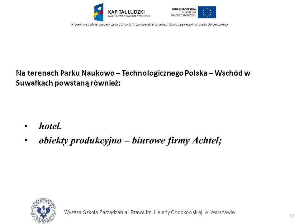 Wyższa Szkoła Zarządzania i Prawa im. Heleny Chodkowskiej w Warszawie 16 Projekt współfinansowany ze środków Unii Europejskiej w ramach Europejskiego