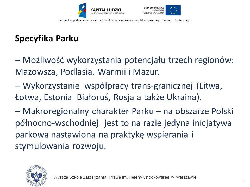Wyższa Szkoła Zarządzania i Prawa im. Heleny Chodkowskiej w Warszawie 17 Projekt współfinansowany ze środków Unii Europejskiej w ramach Europejskiego