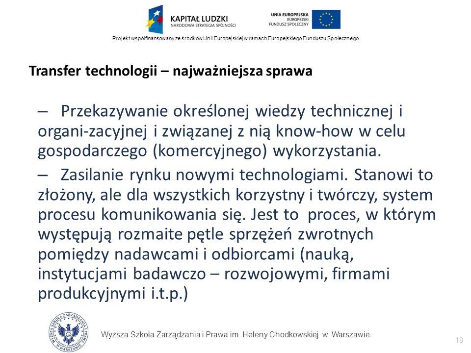 Wyższa Szkoła Zarządzania i Prawa im. Heleny Chodkowskiej w Warszawie 18 Projekt współfinansowany ze środków Unii Europejskiej w ramach Europejskiego
