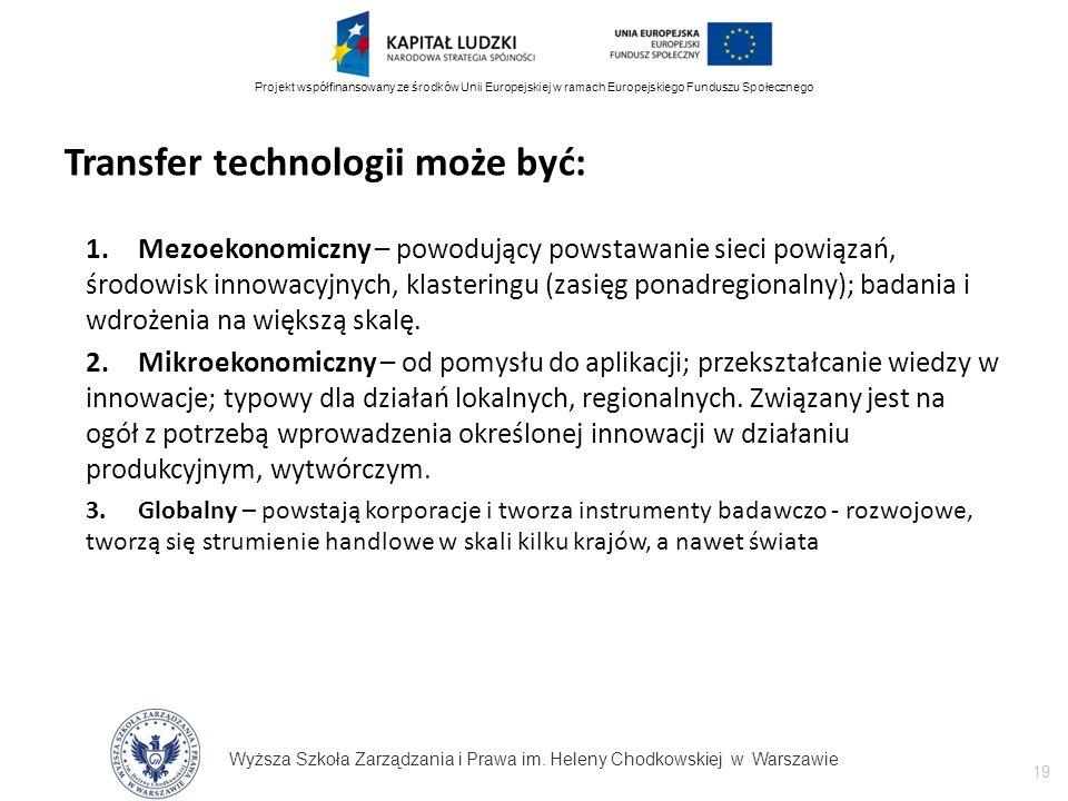 Wyższa Szkoła Zarządzania i Prawa im. Heleny Chodkowskiej w Warszawie 19 Projekt współfinansowany ze środków Unii Europejskiej w ramach Europejskiego