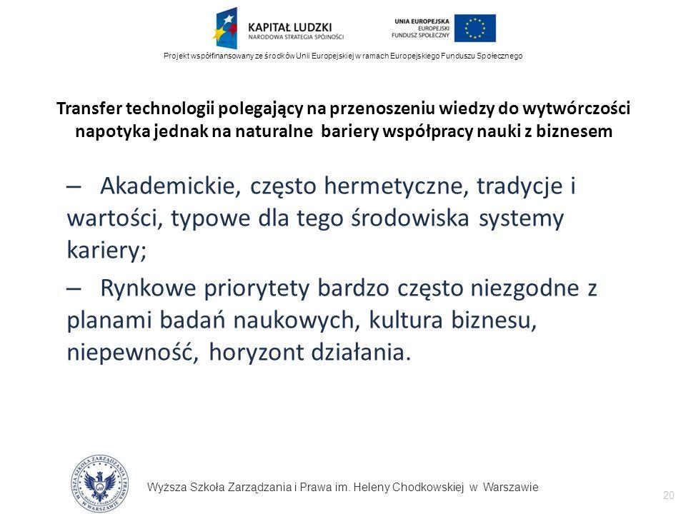 Wyższa Szkoła Zarządzania i Prawa im. Heleny Chodkowskiej w Warszawie 20 Projekt współfinansowany ze środków Unii Europejskiej w ramach Europejskiego