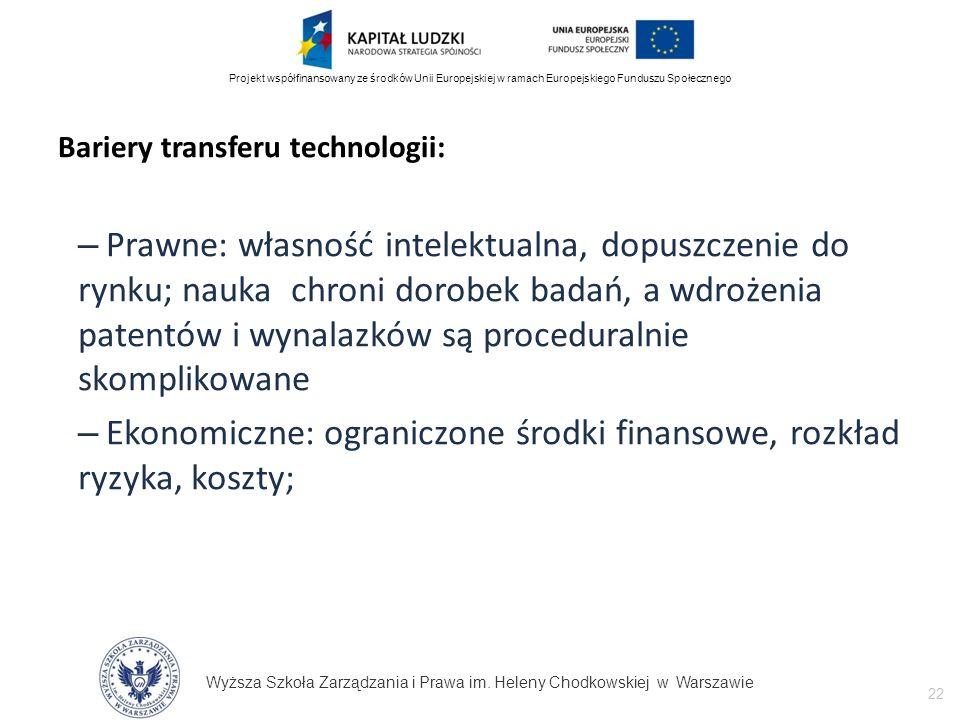 Wyższa Szkoła Zarządzania i Prawa im. Heleny Chodkowskiej w Warszawie 22 Projekt współfinansowany ze środków Unii Europejskiej w ramach Europejskiego