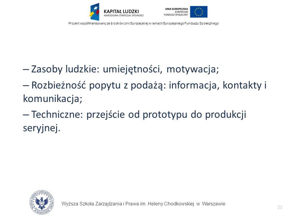 Wyższa Szkoła Zarządzania i Prawa im. Heleny Chodkowskiej w Warszawie 23 Projekt współfinansowany ze środków Unii Europejskiej w ramach Europejskiego