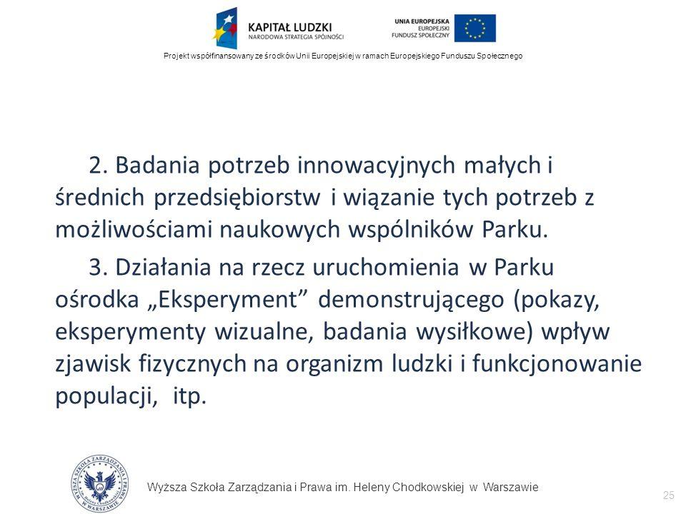 Wyższa Szkoła Zarządzania i Prawa im. Heleny Chodkowskiej w Warszawie 25 Projekt współfinansowany ze środków Unii Europejskiej w ramach Europejskiego