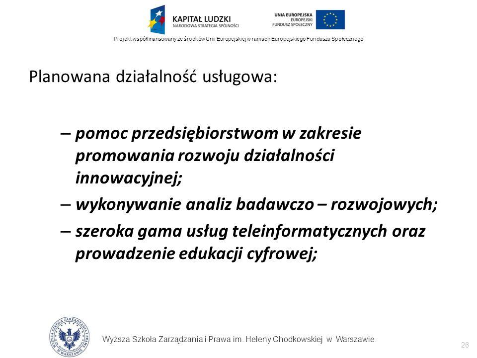 Wyższa Szkoła Zarządzania i Prawa im. Heleny Chodkowskiej w Warszawie 26 Projekt współfinansowany ze środków Unii Europejskiej w ramach Europejskiego