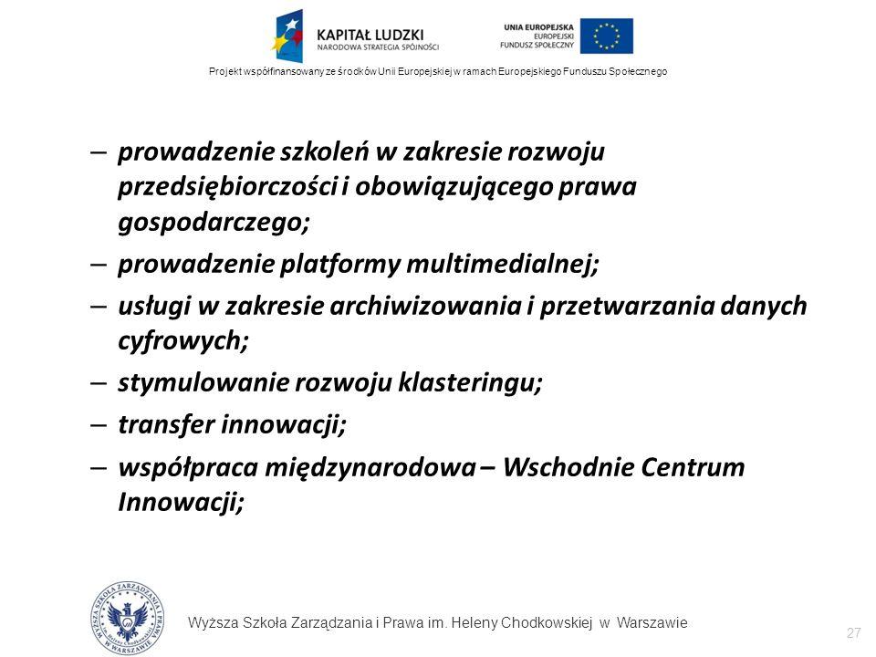 Wyższa Szkoła Zarządzania i Prawa im. Heleny Chodkowskiej w Warszawie 27 Projekt współfinansowany ze środków Unii Europejskiej w ramach Europejskiego