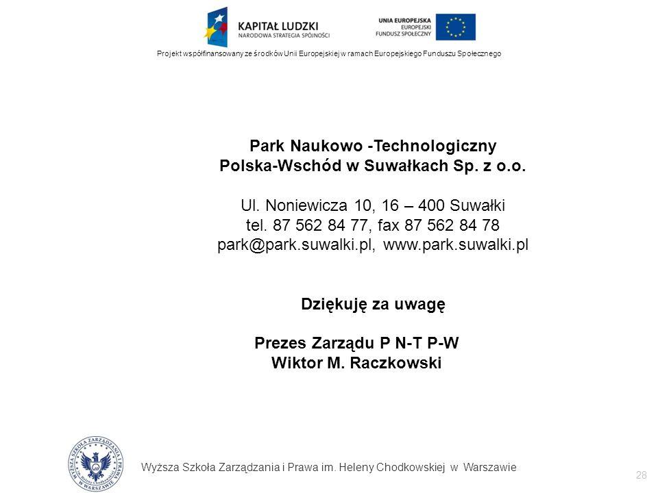 Wyższa Szkoła Zarządzania i Prawa im. Heleny Chodkowskiej w Warszawie 28 Projekt współfinansowany ze środków Unii Europejskiej w ramach Europejskiego