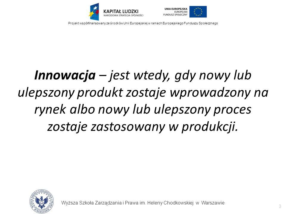 Wyższa Szkoła Zarządzania i Prawa im. Heleny Chodkowskiej w Warszawie 3 Projekt współfinansowany ze środków Unii Europejskiej w ramach Europejskiego F