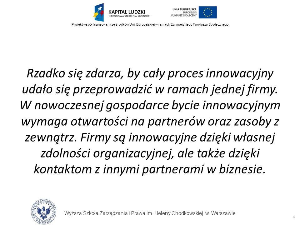 Wyższa Szkoła Zarządzania i Prawa im. Heleny Chodkowskiej w Warszawie 4 Projekt współfinansowany ze środków Unii Europejskiej w ramach Europejskiego F