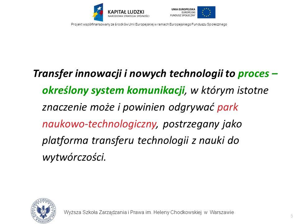 Wyższa Szkoła Zarządzania i Prawa im. Heleny Chodkowskiej w Warszawie 5 Projekt współfinansowany ze środków Unii Europejskiej w ramach Europejskiego F