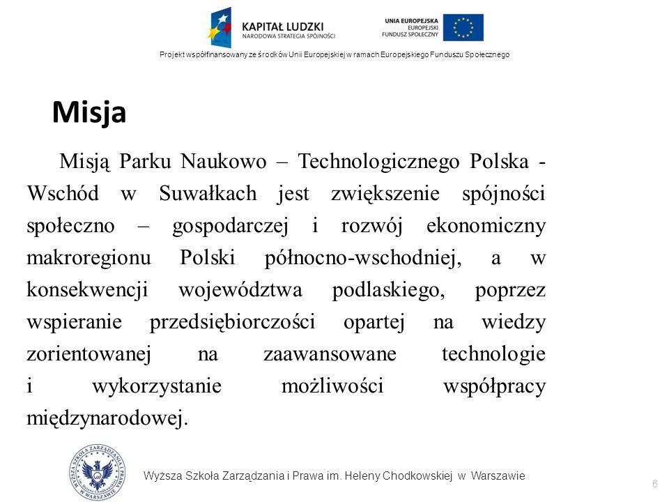Wyższa Szkoła Zarządzania i Prawa im. Heleny Chodkowskiej w Warszawie 6 Projekt współfinansowany ze środków Unii Europejskiej w ramach Europejskiego F